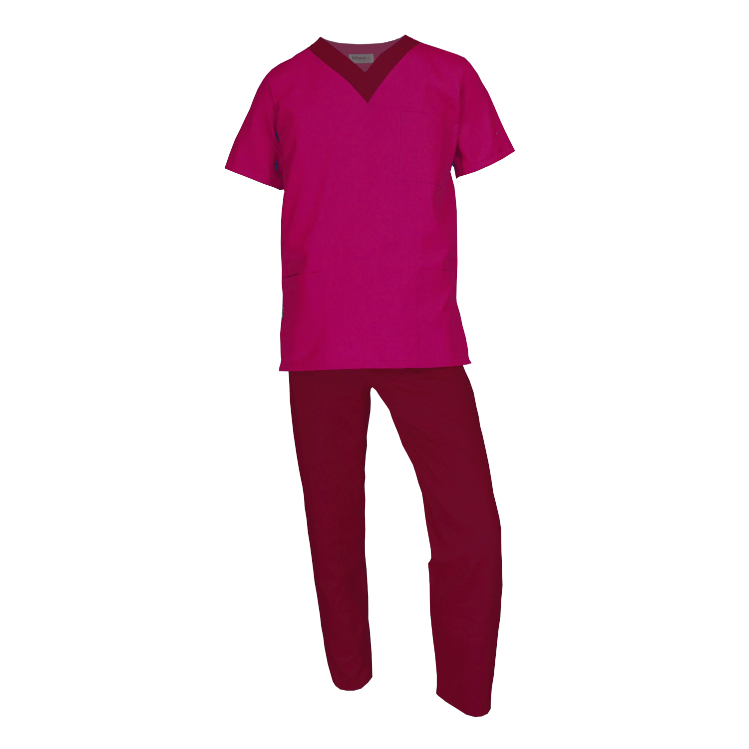 ad7c91953cd Scrub Sets – Pink with Maroon contrasting neckline and pants – Niwa ...